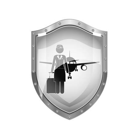 cabin attendant: metallic shield of flight attendant and aeroplane vector illustration