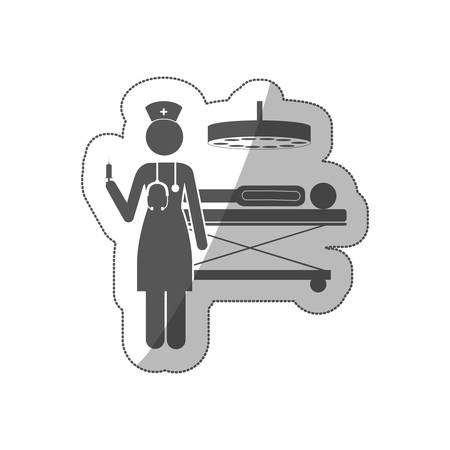 sticker silhouette nurse in operations room with pacient