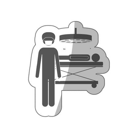 silhouette sticker silhouette surgeon in quirophan with pacient vector illustration
