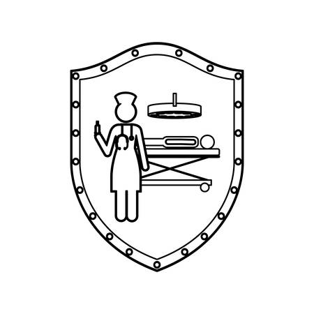 contour shield with nurse in operations room with pacient vector illustration