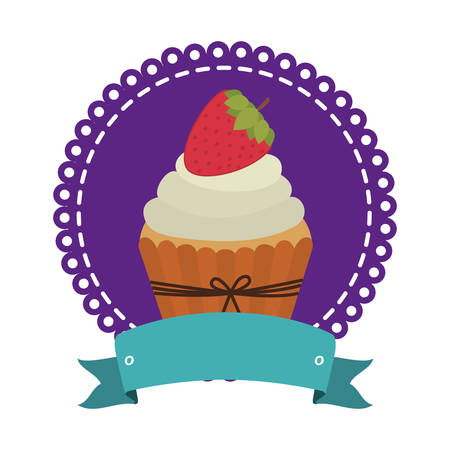 circular border with cupcake with cream and strawberry