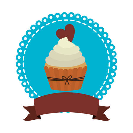 chocolate swirl: circular border with cupcake with cream and chocolate cookie vector illustration Illustration