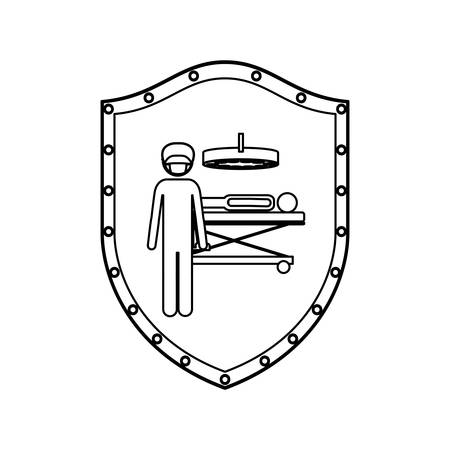 contour shield with surgeon in quirophan with pacient vector illustration Illustration