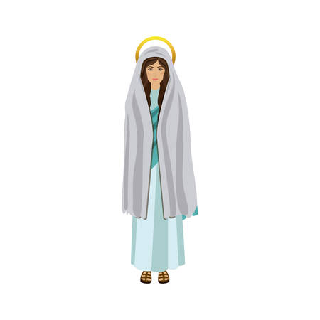 fullbody: picture colorful saint virgin mary vector illustration