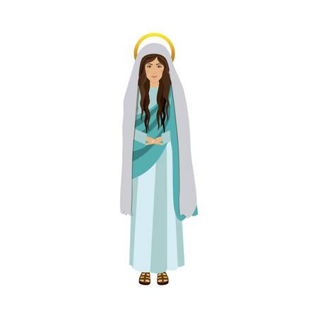 maria: colorful figure human of saint virgin maria vector illustration