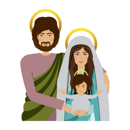 immanuel: half body picture of sacred family vector illustration Illustration
