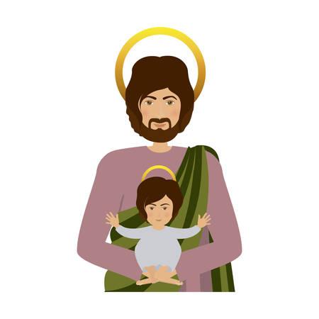 half body saint joseph with baby jesus vector illustration