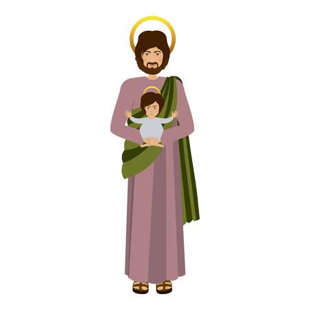 画像聖ジョセフ赤ちゃんイエスのベクトル図