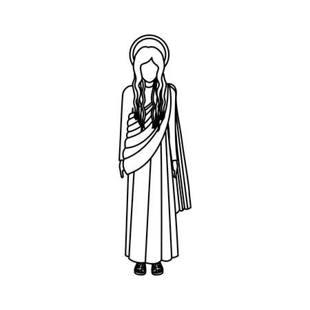 maria: silhoutte figure human of saint virgin maria