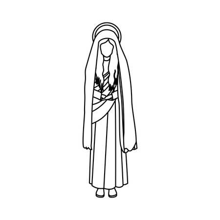 maria: contour figure human of saint virgin maria vector illustration