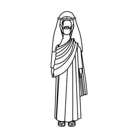 silhouette of picture of christ with tunic vector illustration Illustration