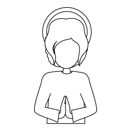 immanuel: silhouette half body picture baby jesus vector illustration