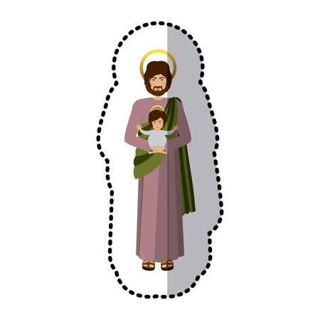 ステッカー画像聖ジョセフ赤ちゃんイエス シェーディング ベクトル図