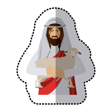 sticker half body jesus carrying a sheep vector illustration
