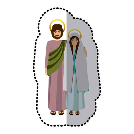 embraced: sticker picture colorful virgin mary and saint joseph embraced vector illustration
