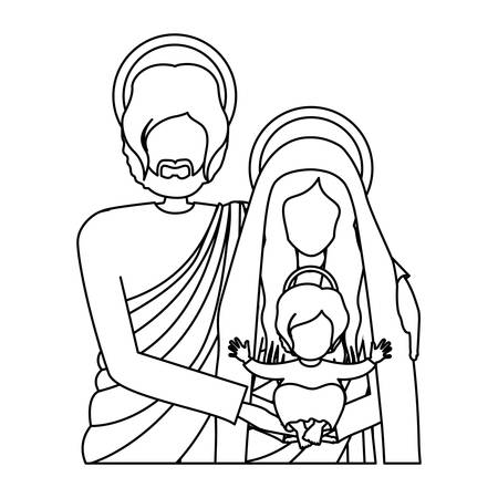 immanuel: silhouette half body picture of sacred family vector illustration Illustration