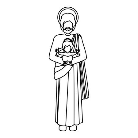 immanuel: silhouette picture saint joseph with baby jesus vector illustration