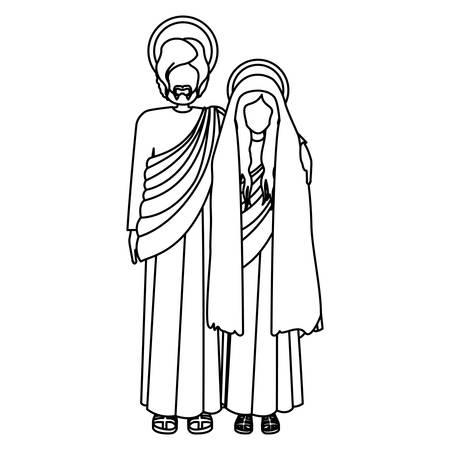 man long hair: silhouette virgin mary and saint joseph embraced vector illustration