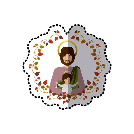 immanuel: sticker arch of autumn leaves with half body saint joseph with baby jesus