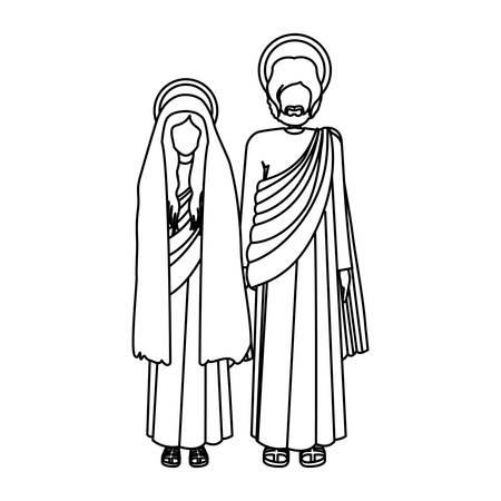 man long hair: silhouette virgin mary and saint joseph standing vector illustration