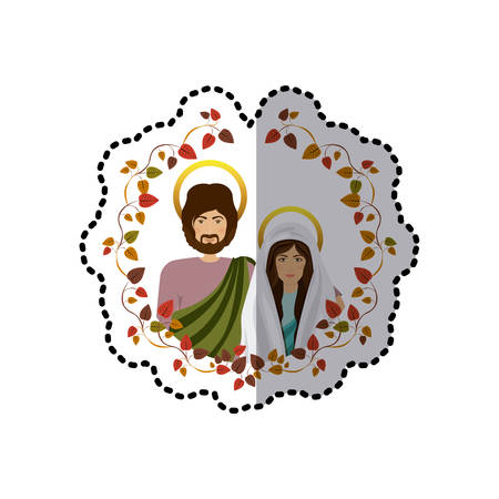 sticker ornament with leaves and half body picture colorful virgin mary and saint joseph vector illustration Illustration