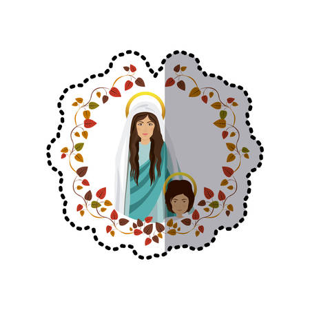 sticker ornament of leaves with saint virgin mary and child jesus vector illustration