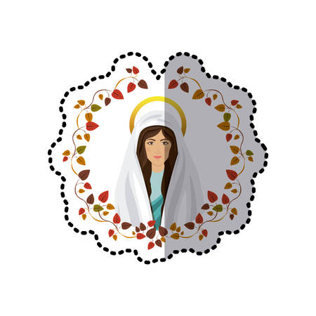 sticker ornament of leaves with half body picture saint virgin mary vector illustration Illustration
