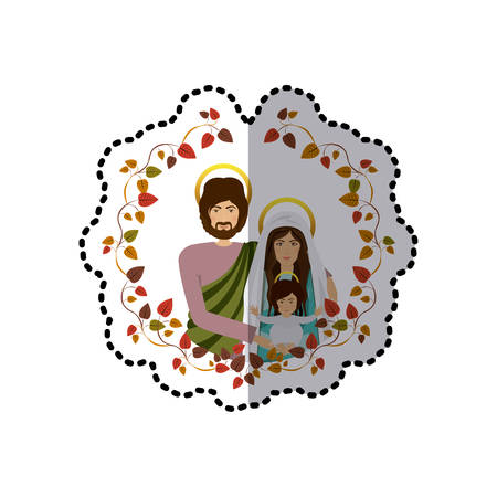 sticker arch of autumn leaves with half body picture of sacred family vector illustration