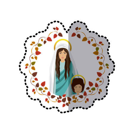 sticker arch of leaves with saint virgin mary and child jesus vector illustration