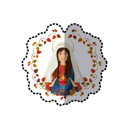 sacred heart: sticker arch of leaves with virgin of immaculate heart of Mary vector illustration