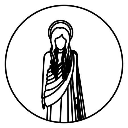 maria: circular shape with silhoutte figure human of saint virgin maria vector illustration