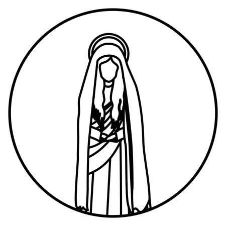 maria: circular shape with contour figure of saint virgin maria vector illustration