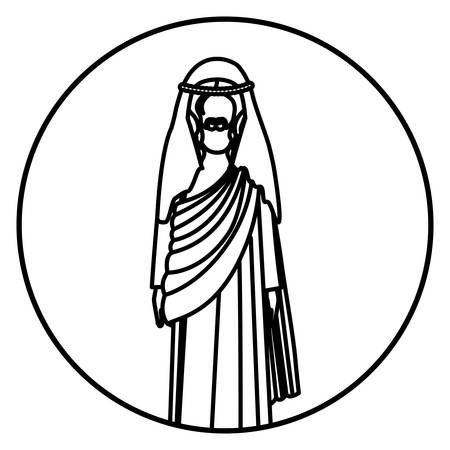 circular shape with silhouette of christ with tunic vector illustration