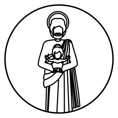 circular shape with contour of saint joseph with baby jesus vector illustration  イラスト・ベクター素材