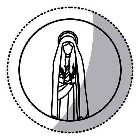 maria: circular sticker with contour figure of saint virgin maria vector illustration Illustration