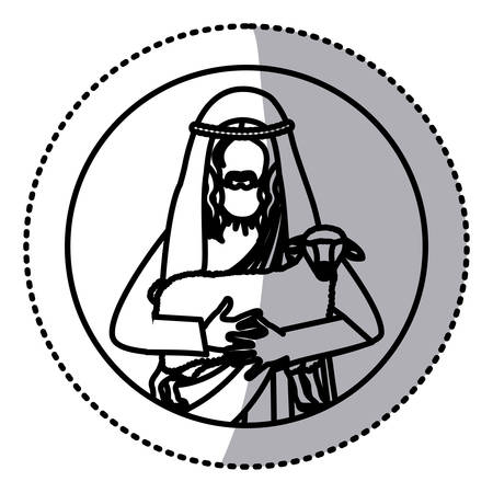 circular sticker with silhouette half body jesus carrying a sheep vector illustration