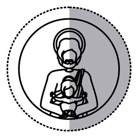 circular sticker with contour half body saint joseph with baby jesus vector illustration