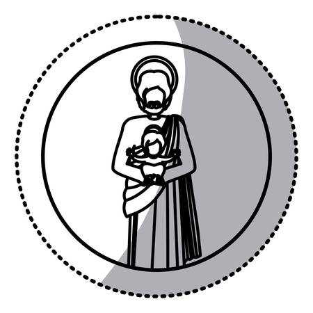 circular sticker with silhouette of saint joseph with baby jesus vector illustration Illustration