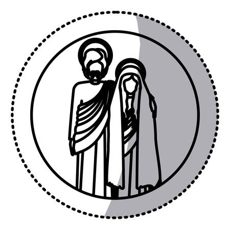 embraced: circular sticker with silhouette virgin mary and saint joseph embraced vector illustration