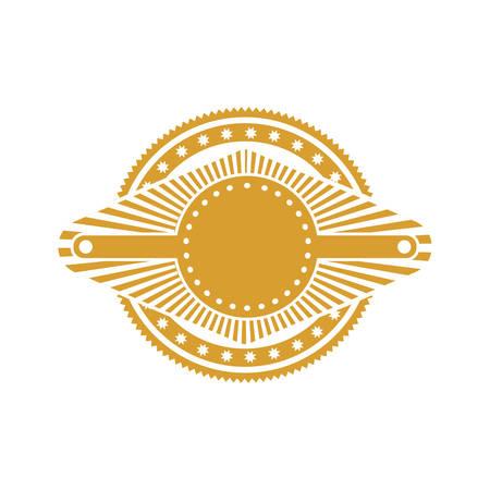 ochre stamp abstract art deco emblem vector illustration Illustration