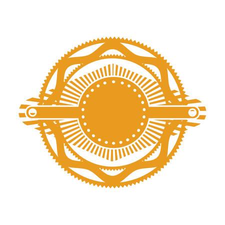 orange gear abstract art deco emblem vector illustration Illustration