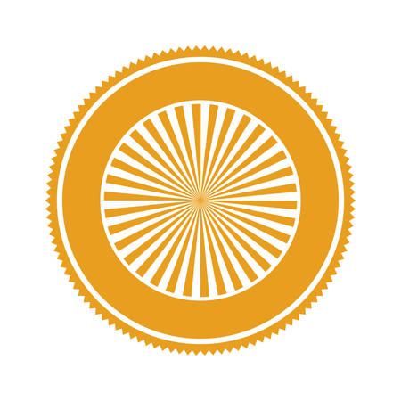 ochre: orange gear abstract art deco emblem with stripeds vector illustration