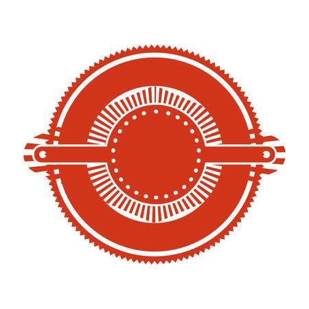 red stamp: red stamp abstract art deco emblem vector illustration