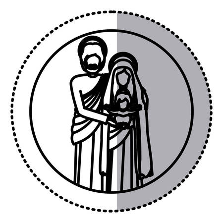 circular sticker with silhouette of sacred family standing vector illustration Illustration