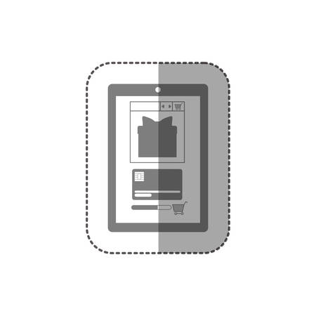 estimating: gray scale middle shadow sticker with touch tablet vector illustration