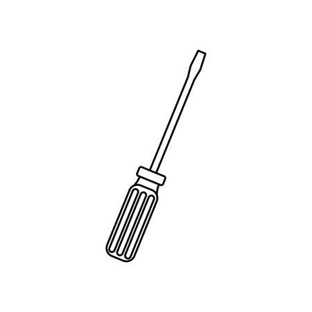 contour lijn zwart-wit met een schroevendraaier vector illustratie Vector Illustratie