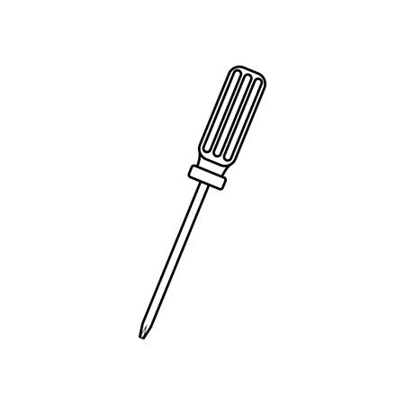 contour line monochrome with screwdriver phillips vector illustration