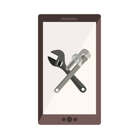 monochrome cellphone with crossed wrenches in display Illustration