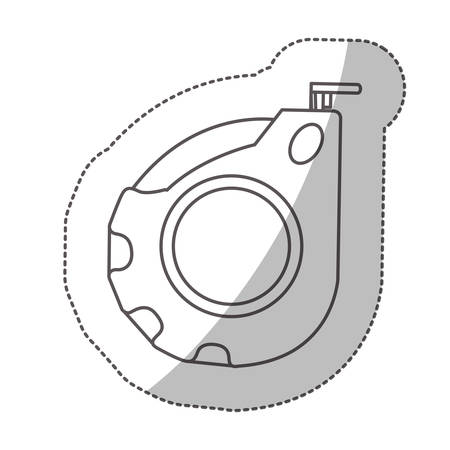 inches: contour middle shadow sticker grayscale with tape measure vector illustration Illustration