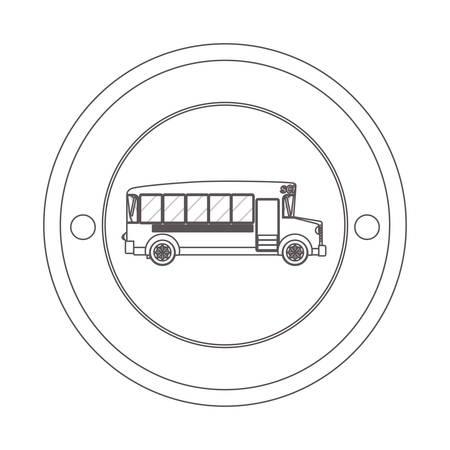silhouette contour: circular contour of silhouette with school bus vector illustration